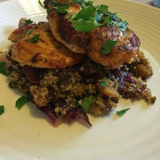 Spiced Chicken with Apricot, Red Onion and Garlic Quinoa