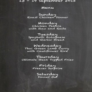 Weekly Menu 13 – 19 September 2015