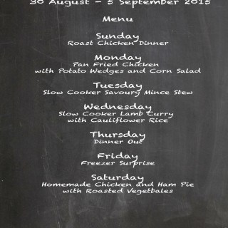 Weekly Menu 30 August – 5 September 2015