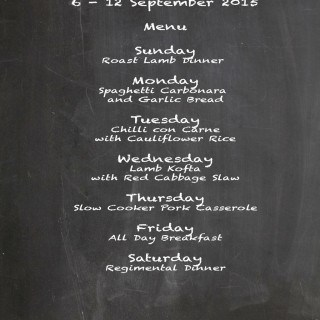 Weekly Menu 6 – 12 September 2015