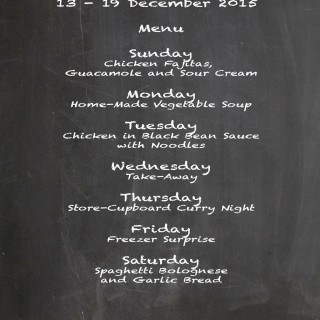 Weekly Menu 13 Dec – 19 Dec 2015