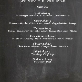 Weekly Menu 29 Nov – 5 Dec 15