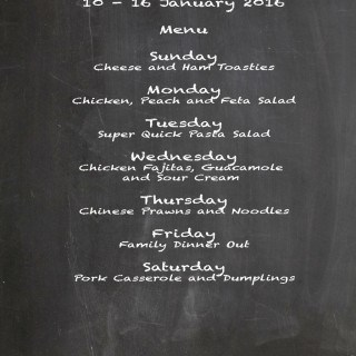 Weekly Menu 10 – 16 January 2016