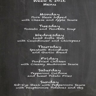 Family Menu Week 6 2016