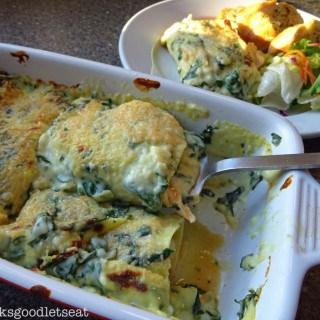 Chicken, Spinach & Mushroom Lasagne Rolls