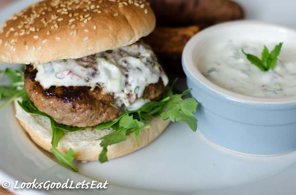 Moroccan Style Lamb Burgers with Honey, Chilli Tzatziki