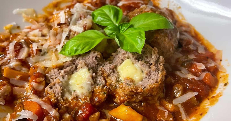Stuffed Meatballs & Tomato Sauce